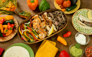 Fajitas with all individual elements